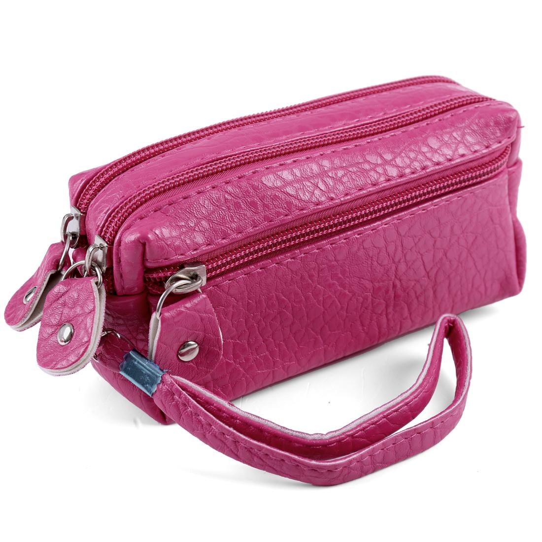 Ladies Girls Rose Pink Crocodile Pattern Zip Up Purse Removable Wristlet Wallet