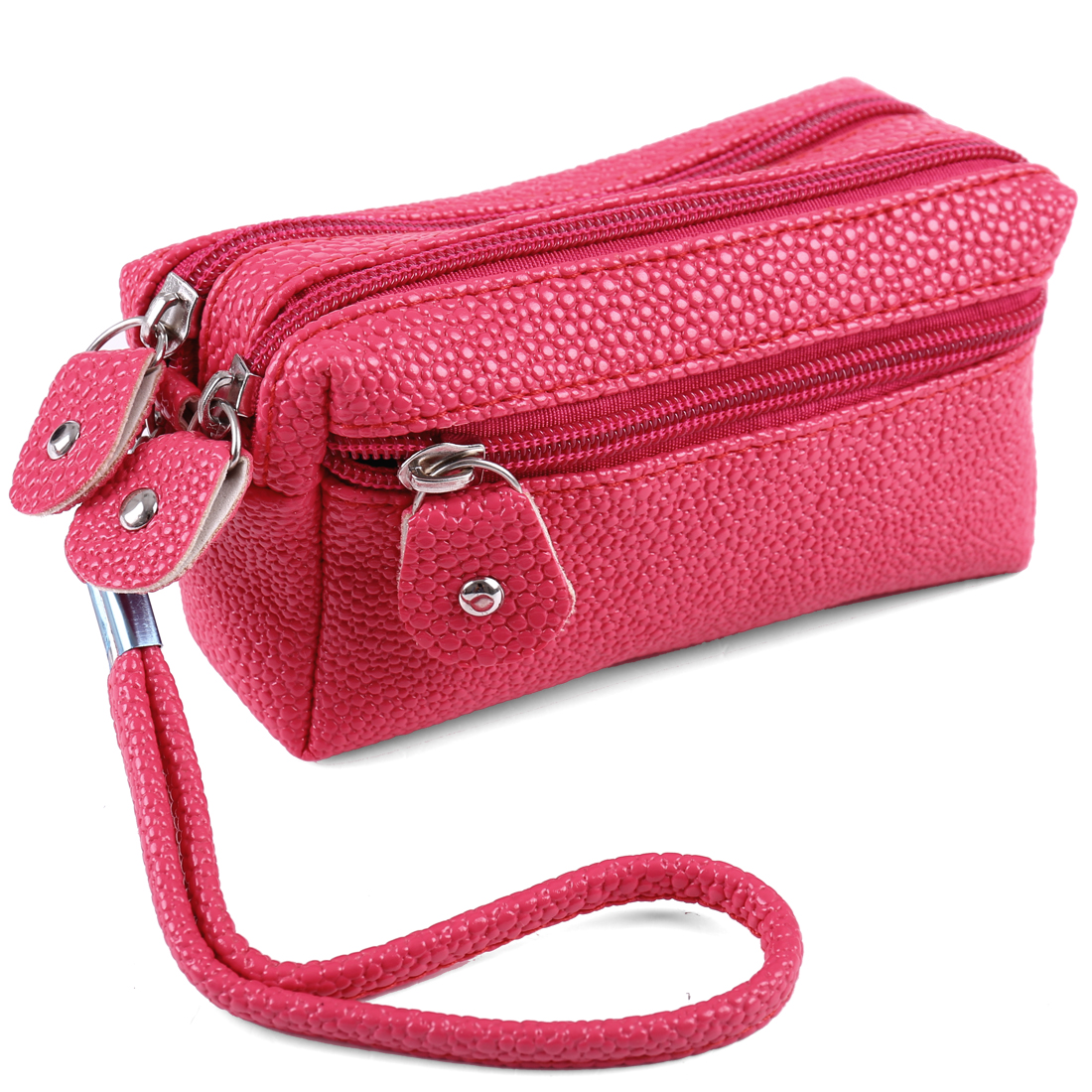 Ladies Girls Snake Pattern Zip Up Purse Removable Wristlet Wallet Rose Pink