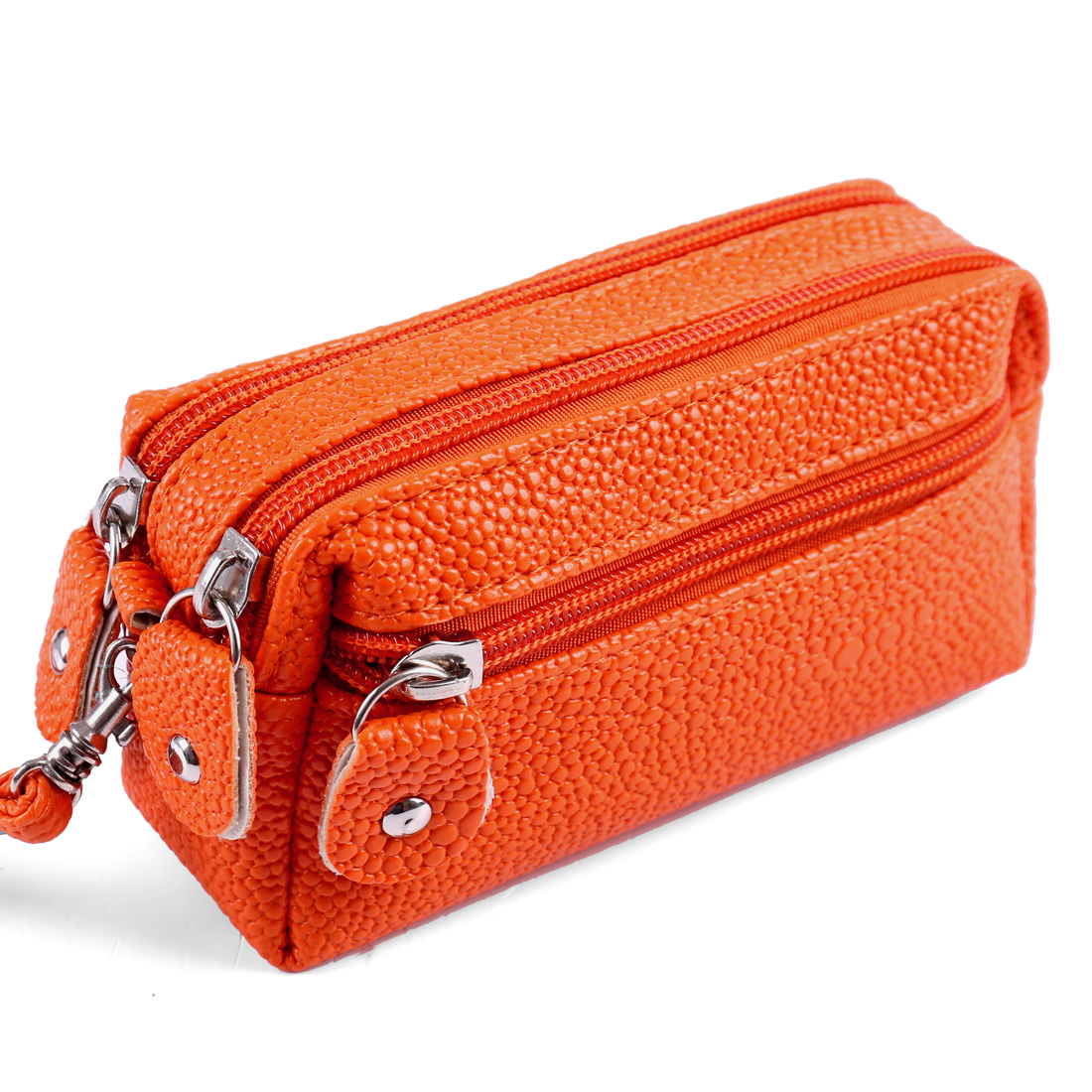 Woman Orange Snake Pattern Texture Faux Leather Zipper Closure Handbag w Strap