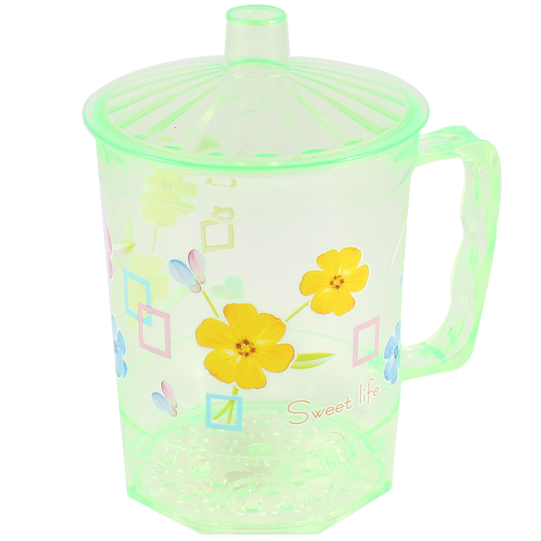 Clear Green Florals Print Handgrip Water Bottle Gargle Cup 400ML w Lid