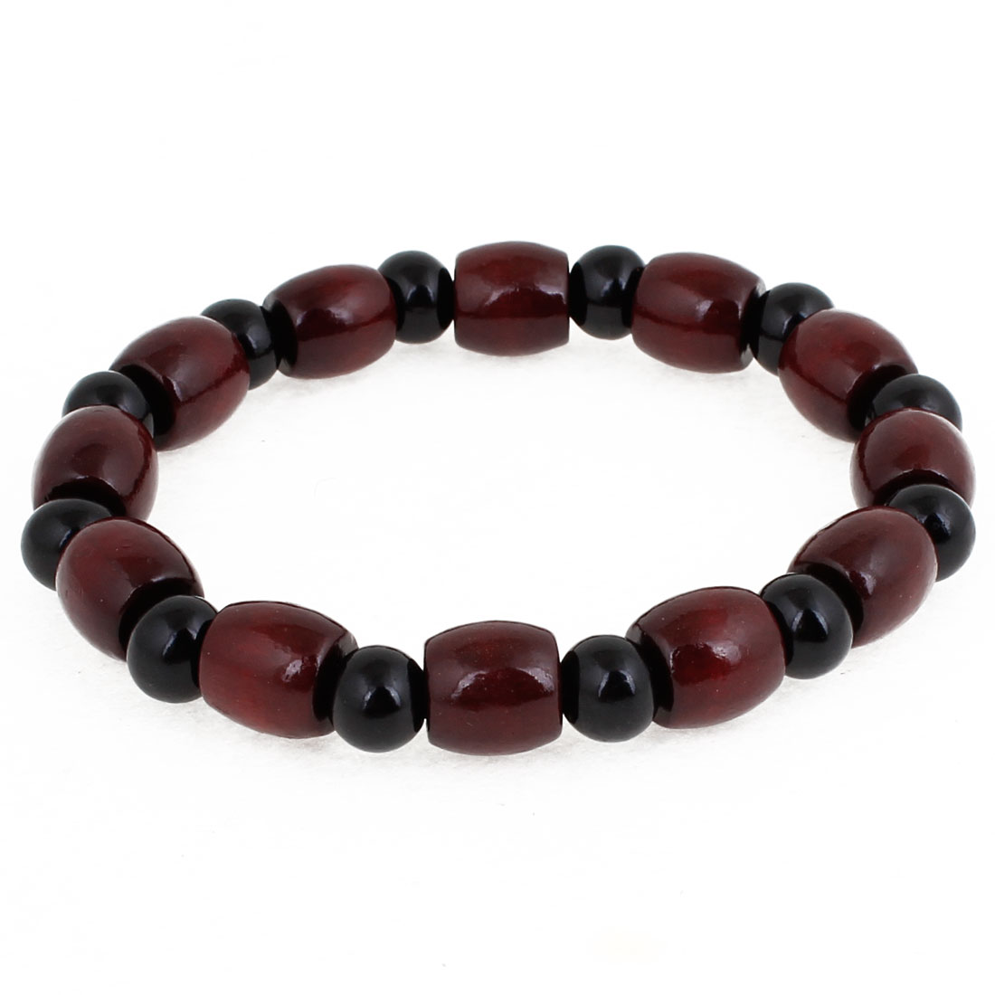 Plastic Black Round Burgundy Cylindrical Shape Beads Decor Elastic Bracelet