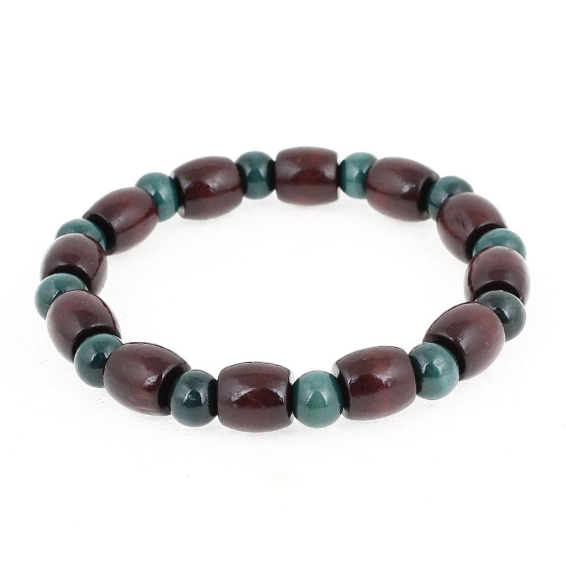 Plastic Green Round Burgundy Cylindrical Shape Beads Decor Elastic Bracelet