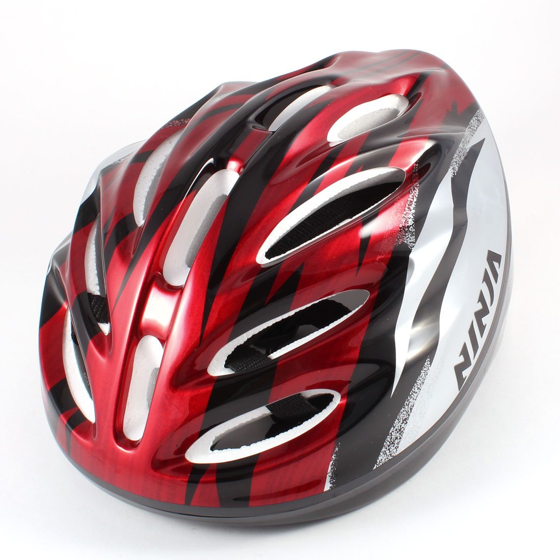 Children Black Red Striped Plastic Housing Skating Bicycle Cycling Helmet