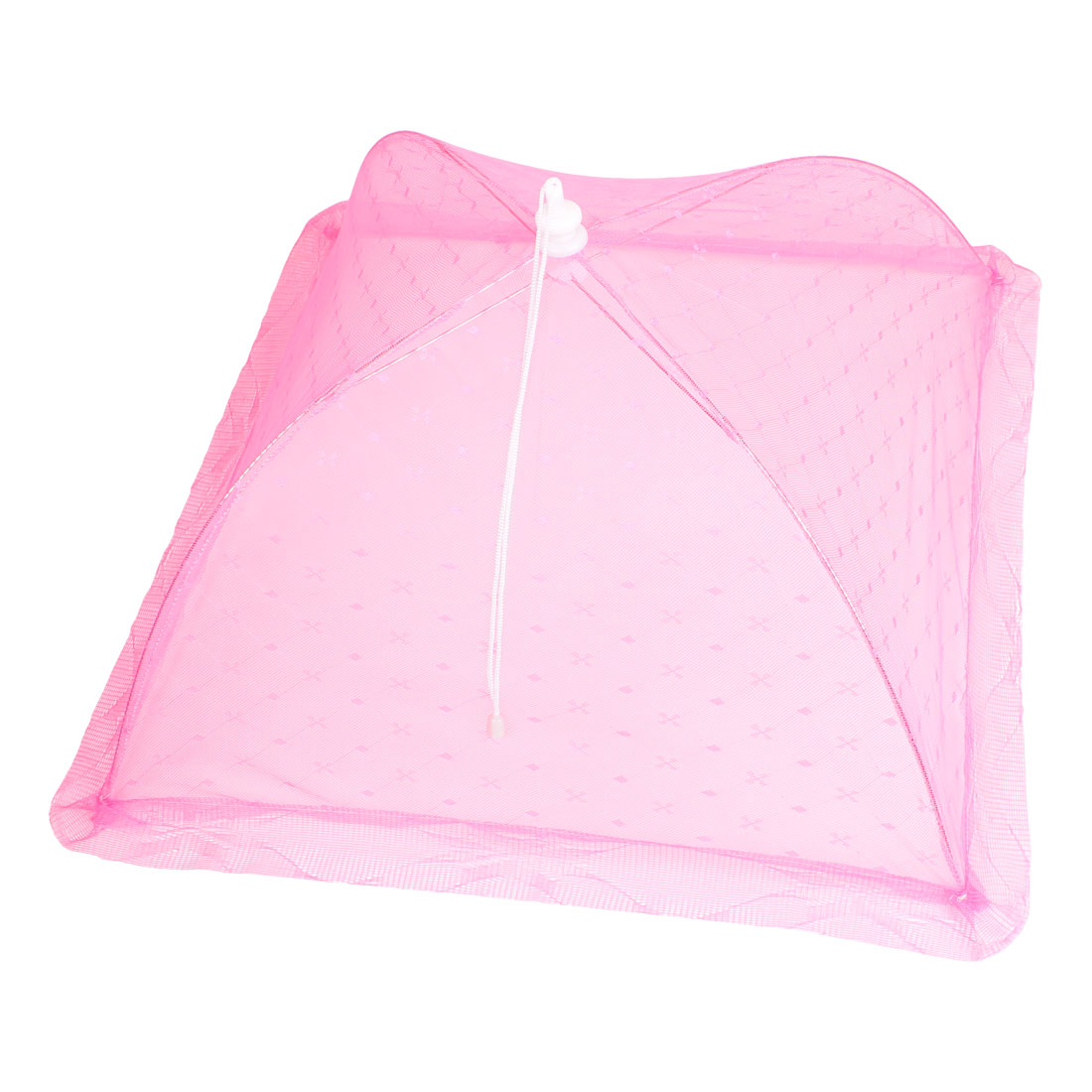 Kitchen Home Fuchsia Nylon Mesh Folding Dish Food Cover Umbrella