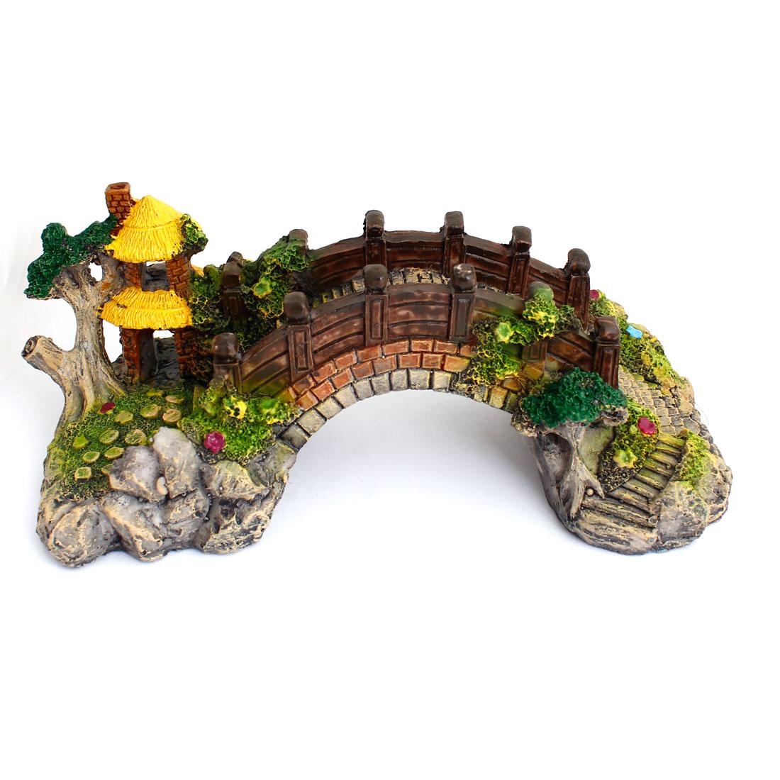 Fish Tank Underwater Resin Decor Colorful Arch Bridge Shaped Ornament Mountain