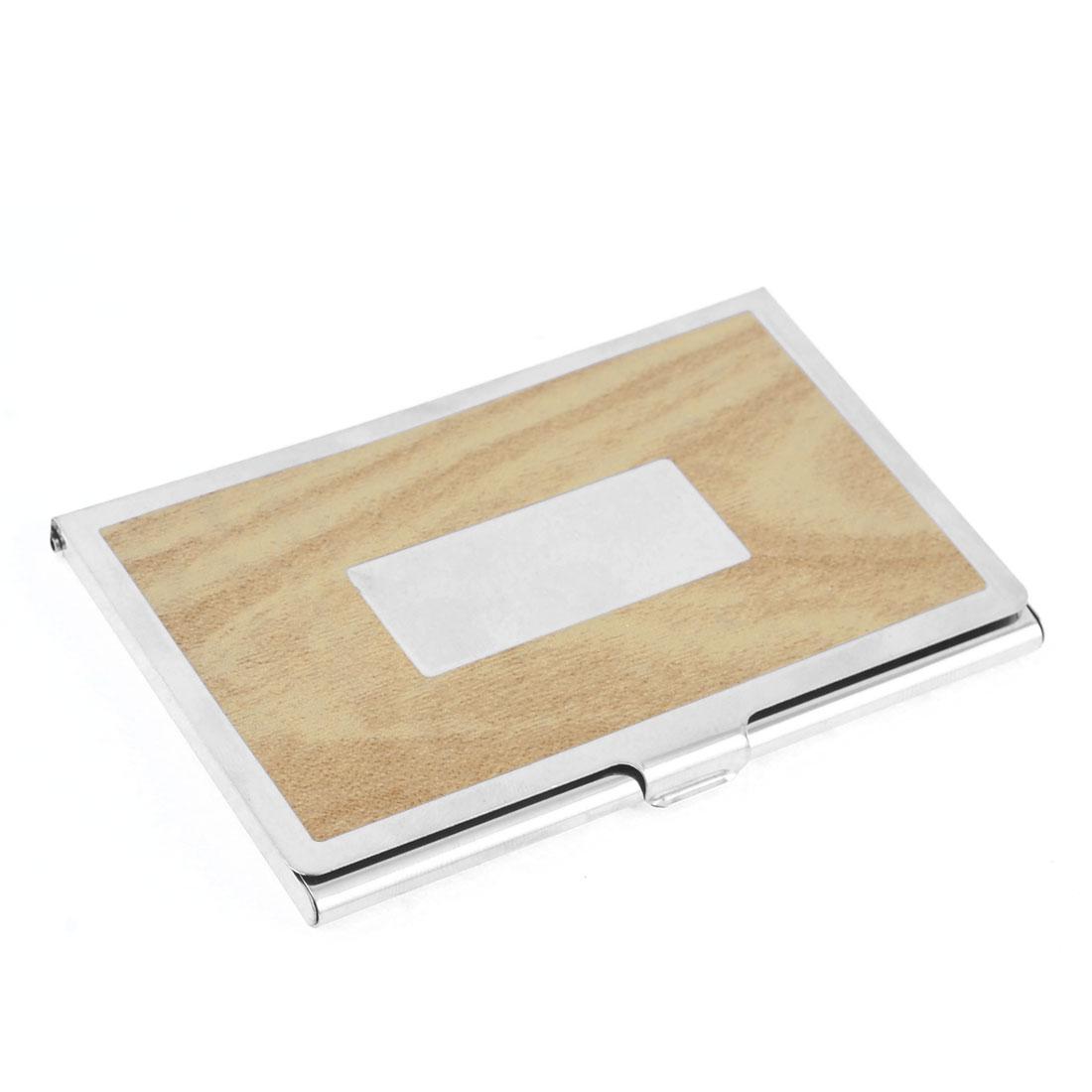 Polished Sliver Tone Beige Wood Grain Pattern Business Card Holder
