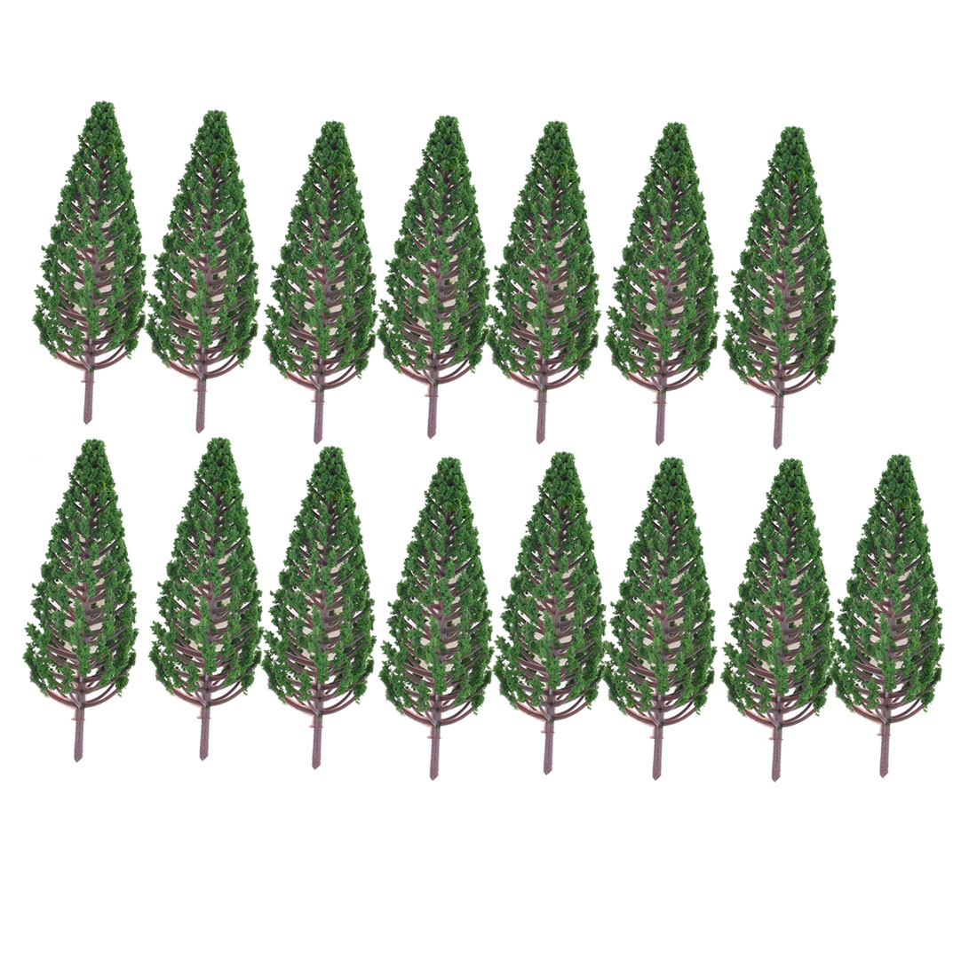 15 Pcs Dark Green Plastic Pagoda Model Trees 10.5cm High Layout Scene 1:100