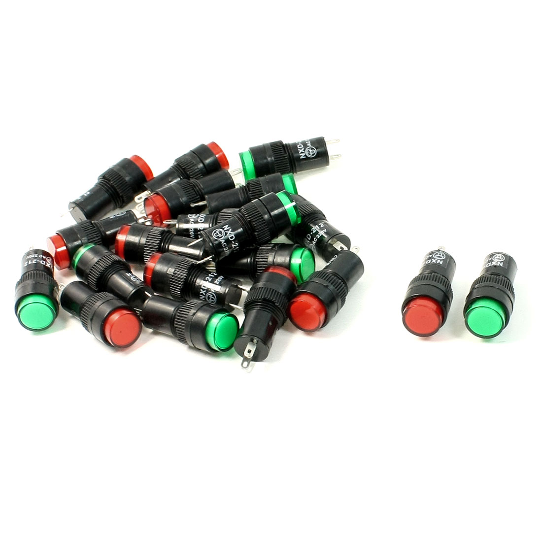 20 Pcs AC 220V Red Green Round Cap Indicator Light Pilot Lamp