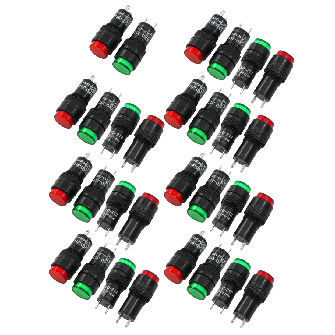 30 Pcs 2 Terminals Panel Mount AC220V Indicator Light Red Green