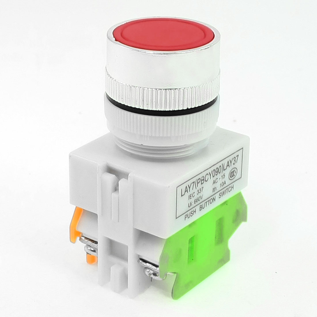 660VAC/10A 4 Terminals Momentary Red Round Push Button Switch DPST