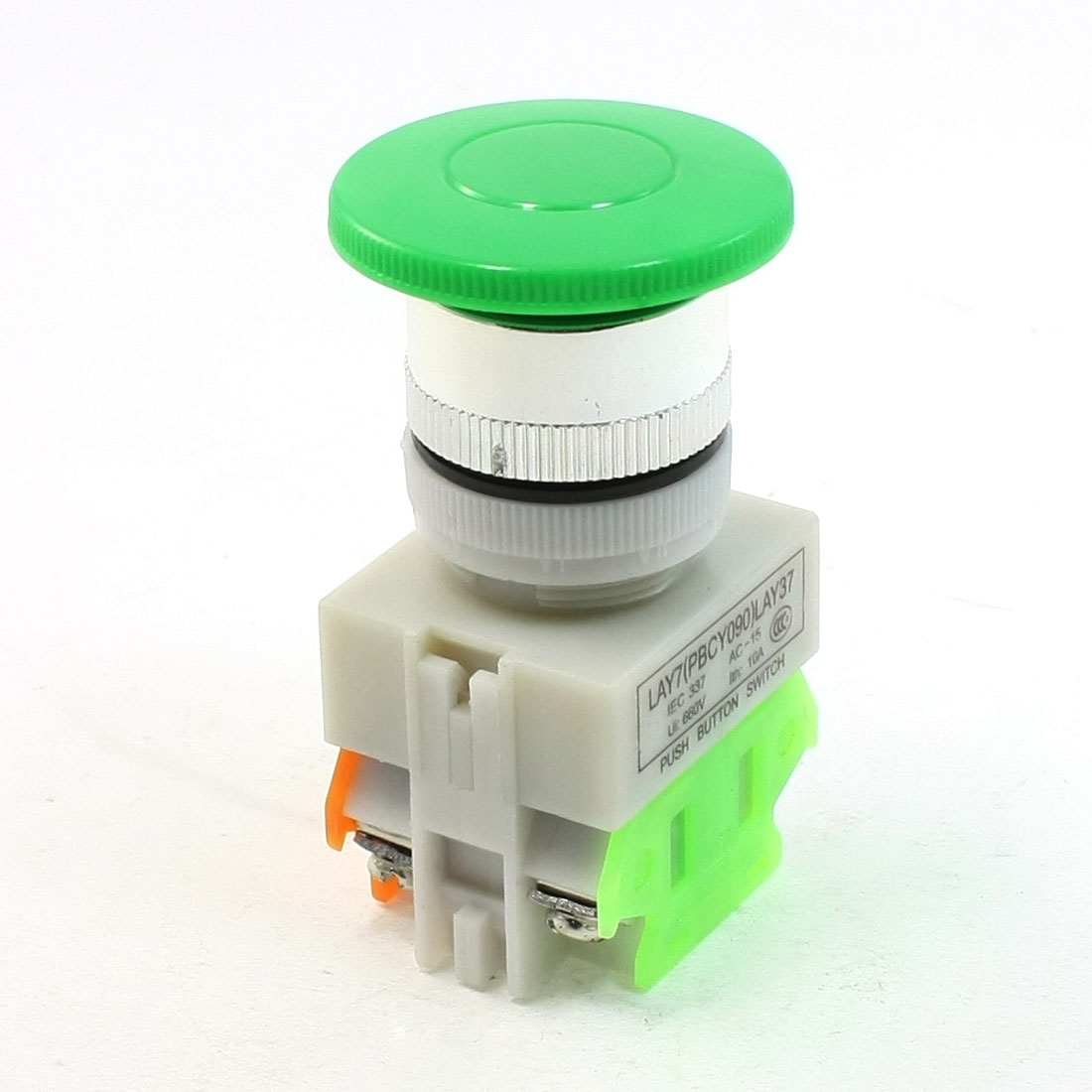 1NO 1NC Green Sign Mushroom Emergency Stop Pushbutton Switch Red Ui 660V 10A