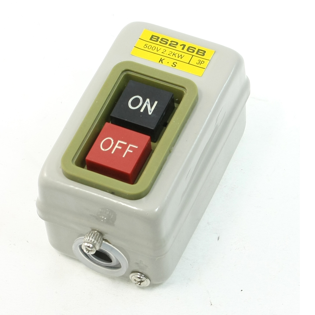 ON/OFF 3P Self Locking Power Push Button Switch AC 500V 2.2KW