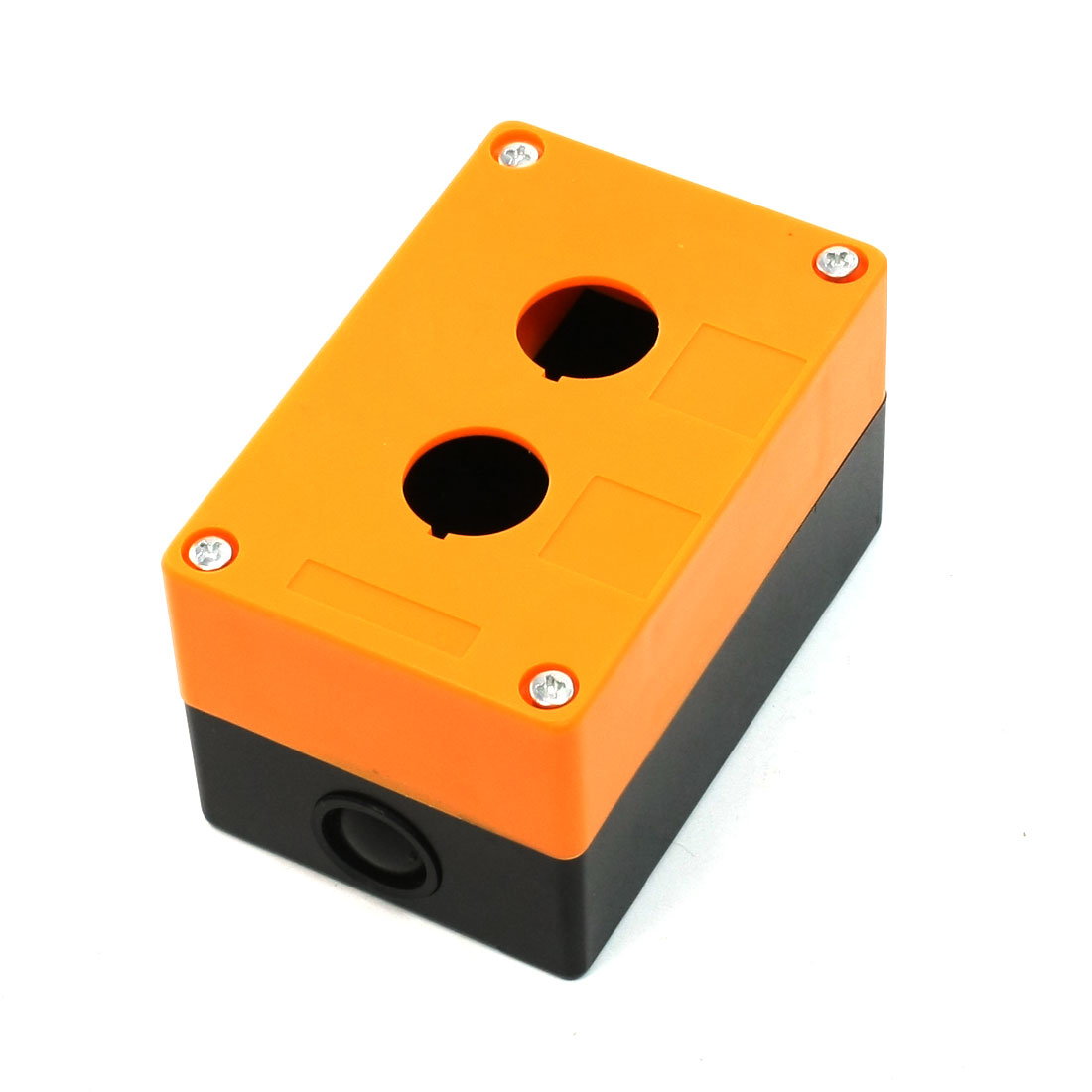 Black Orange Dual Buttons Pushbutton Switch Control Station Box w 4 Screws