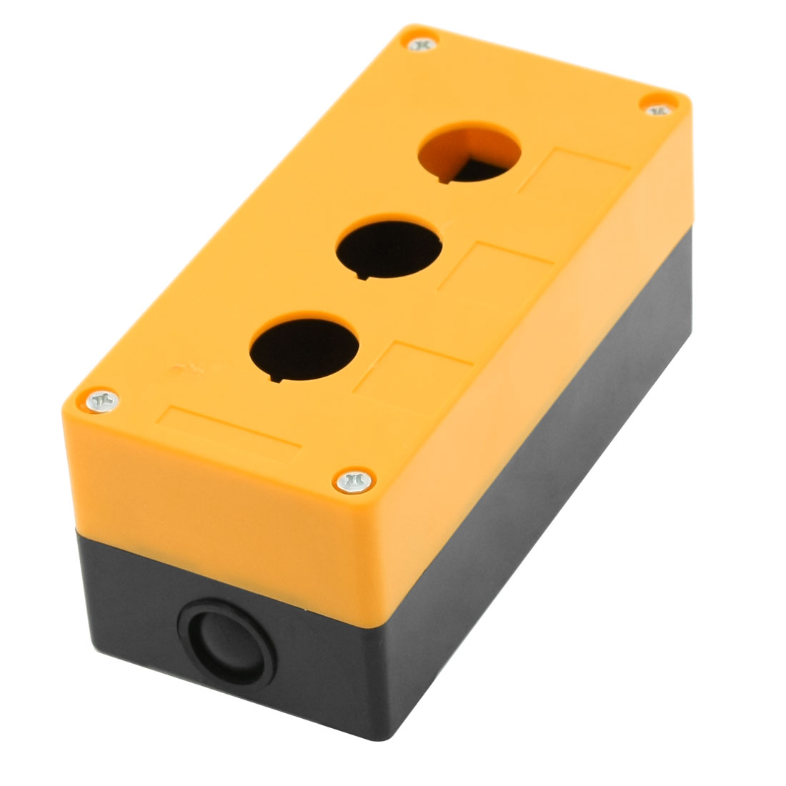 Orange Black Plastic 22mm Dia 3 Holes Push Button Switch Control Box Shell
