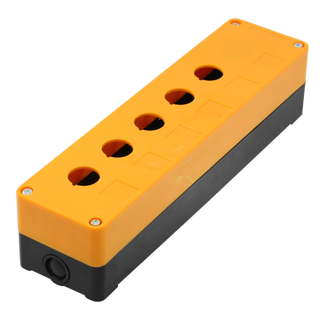 Orange Black Plastic 22mm Hole 5 Push Button Switch Control Station Box