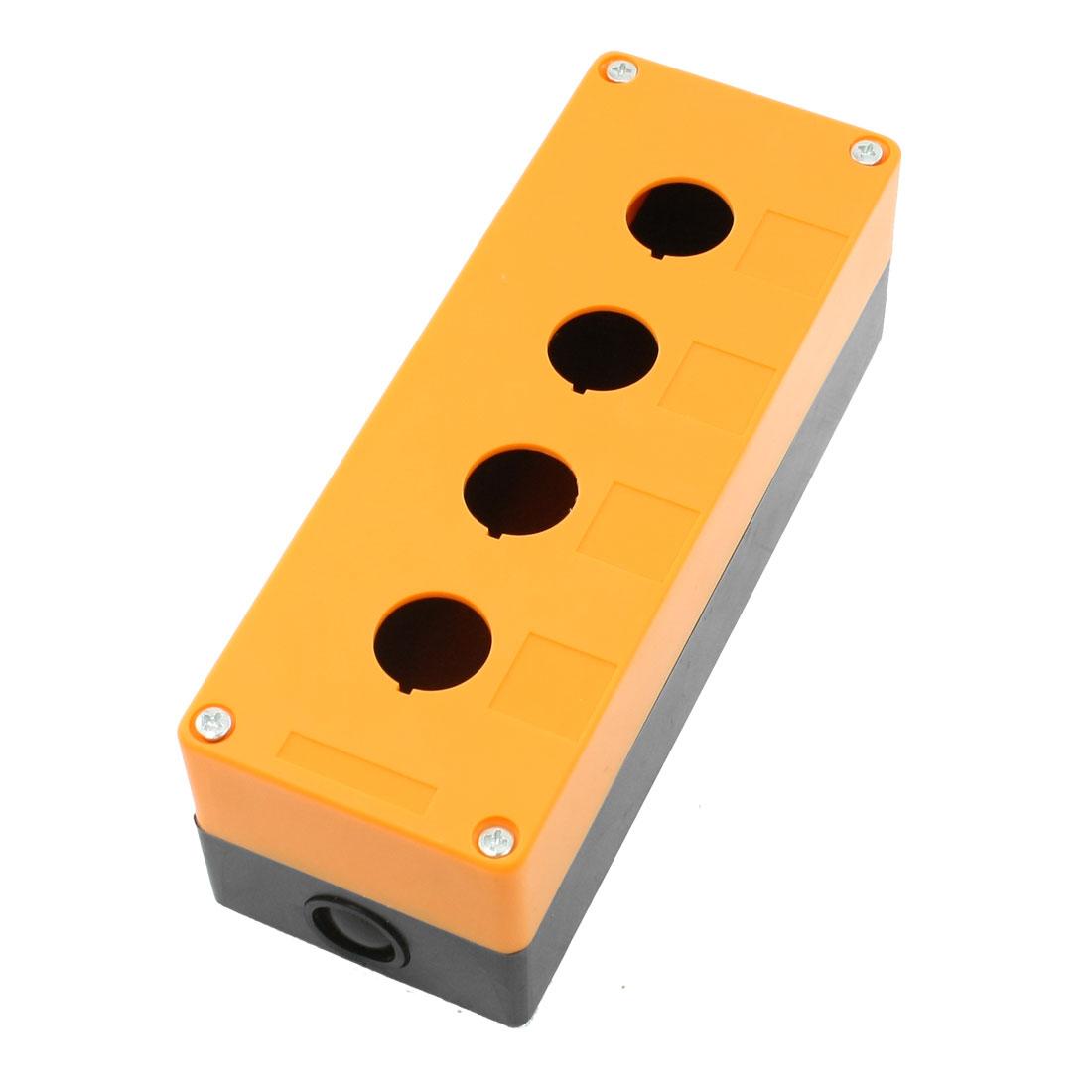Orange Black Plastic 4 Holes Push Button Switch Holder Control Box Case