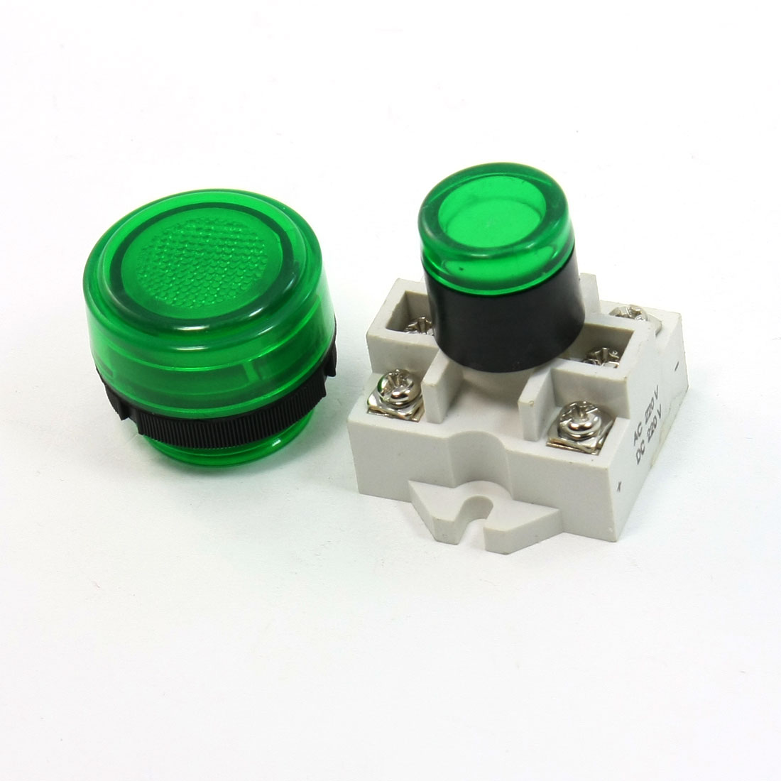 AC 220V 6-Terminals Green Round Head 4mm Mounted Signal Indicator Lamp