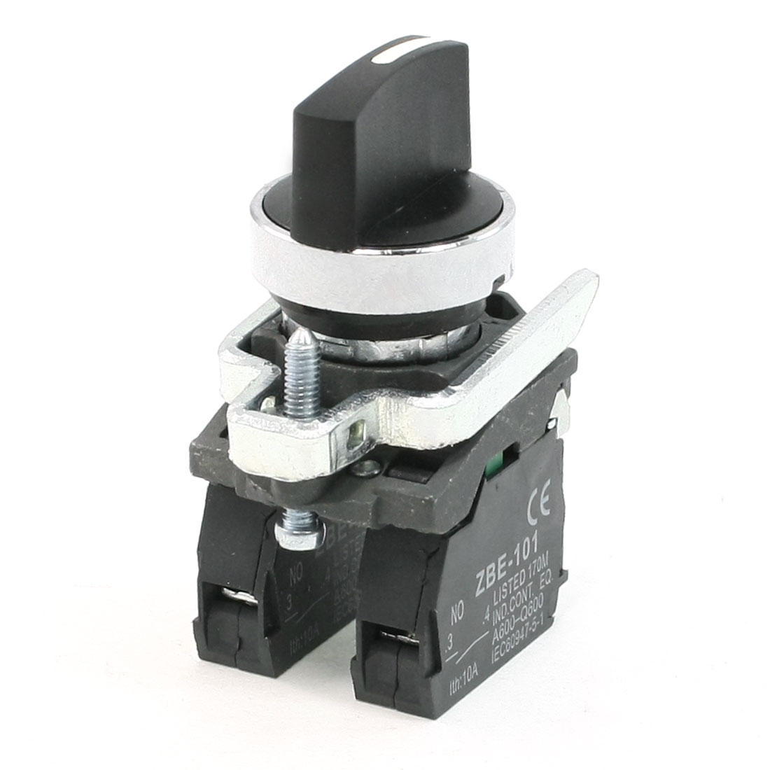 AC 240V 6A 1NO Model SPST Black Selector Self-Locking Rotary Switch