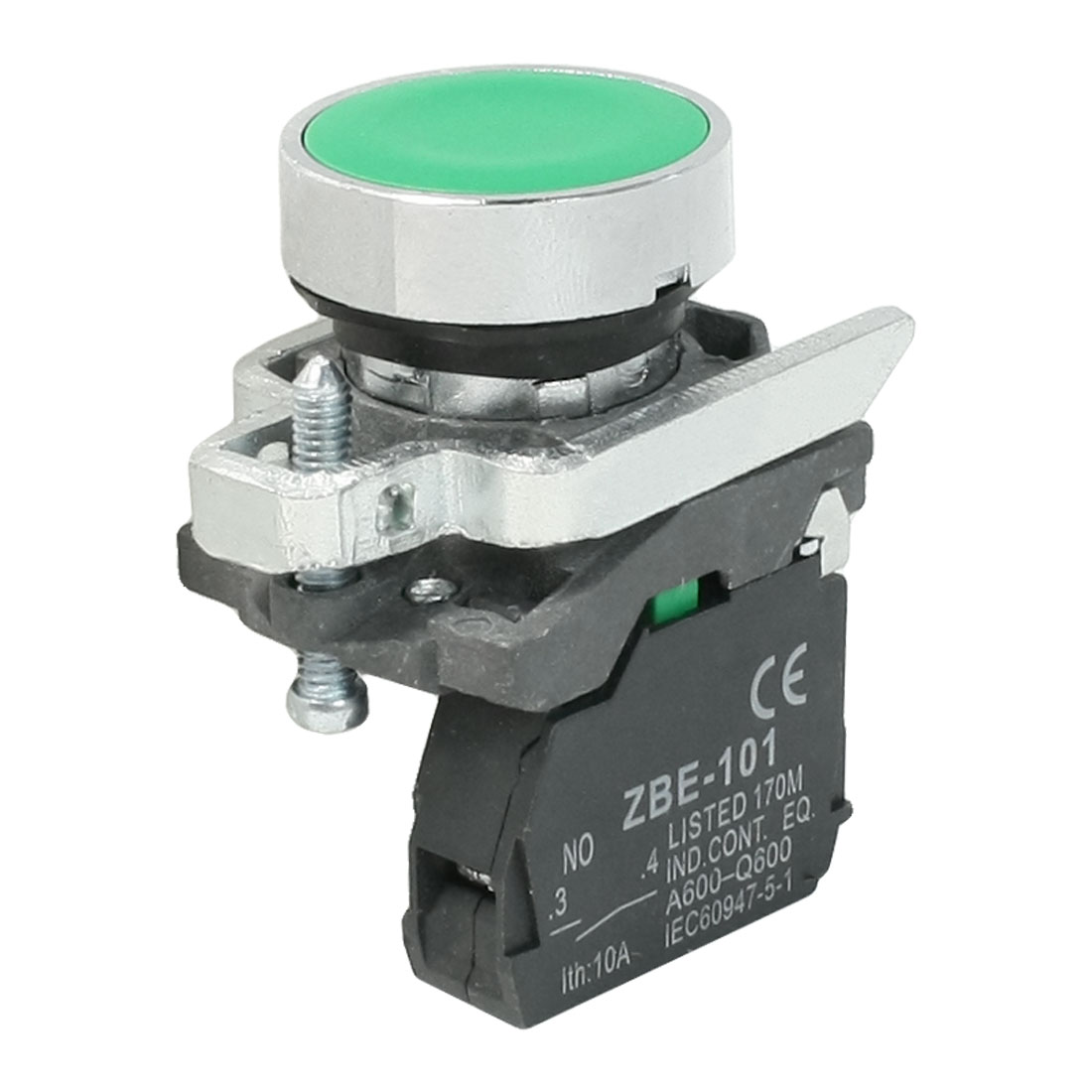 AC 240V 6A 1NO 1NC SPST Momentary Green Flat Round Push Button Switch
