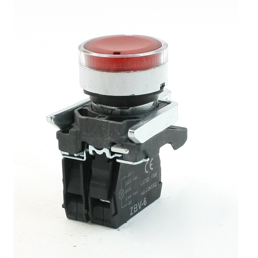 DPST 4 Screw Terminals Momentary Red Flat Push Button Switch