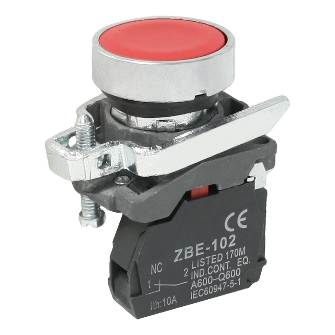 Red Cap 1NC 2-Terminal Button Switch 6A AC 240V ZBE-102 SPST