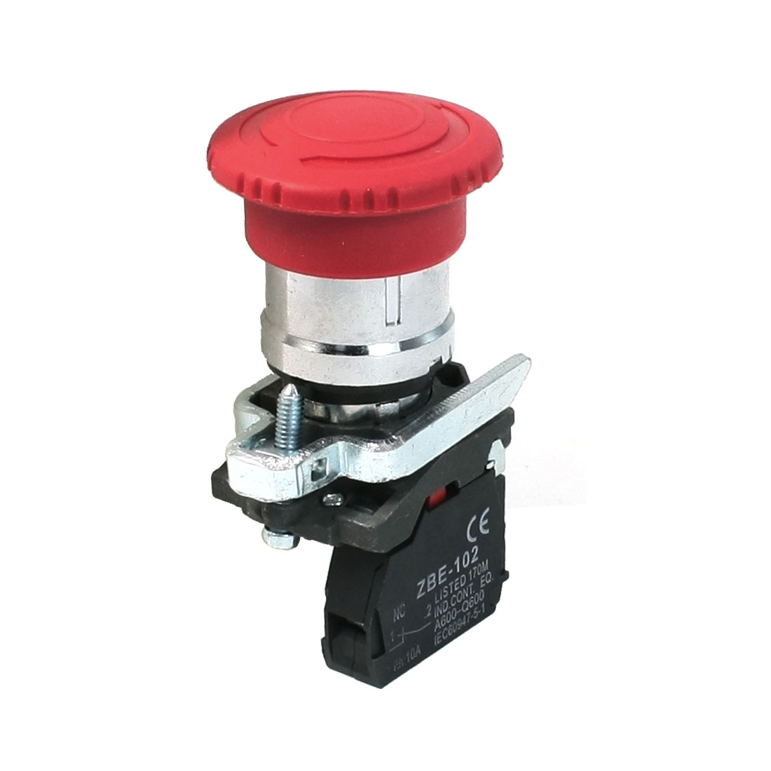 Red Mushroom Head 2-Terminal 1NC Emergency Push Button Switch AC 240V 6A