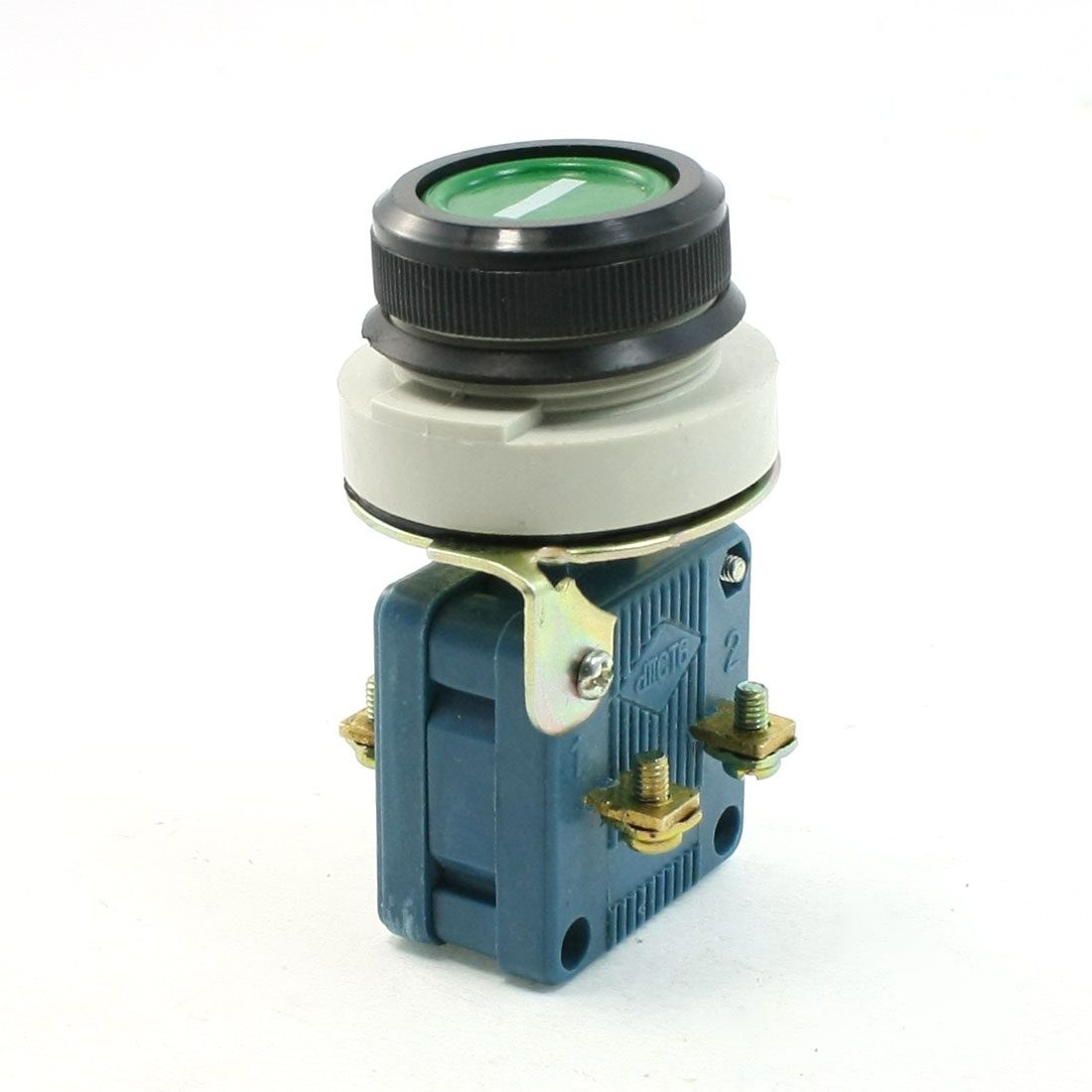AC 380V 10A 1NO 1NC 4 Terminals DPST Green Momentary Push Button Switch