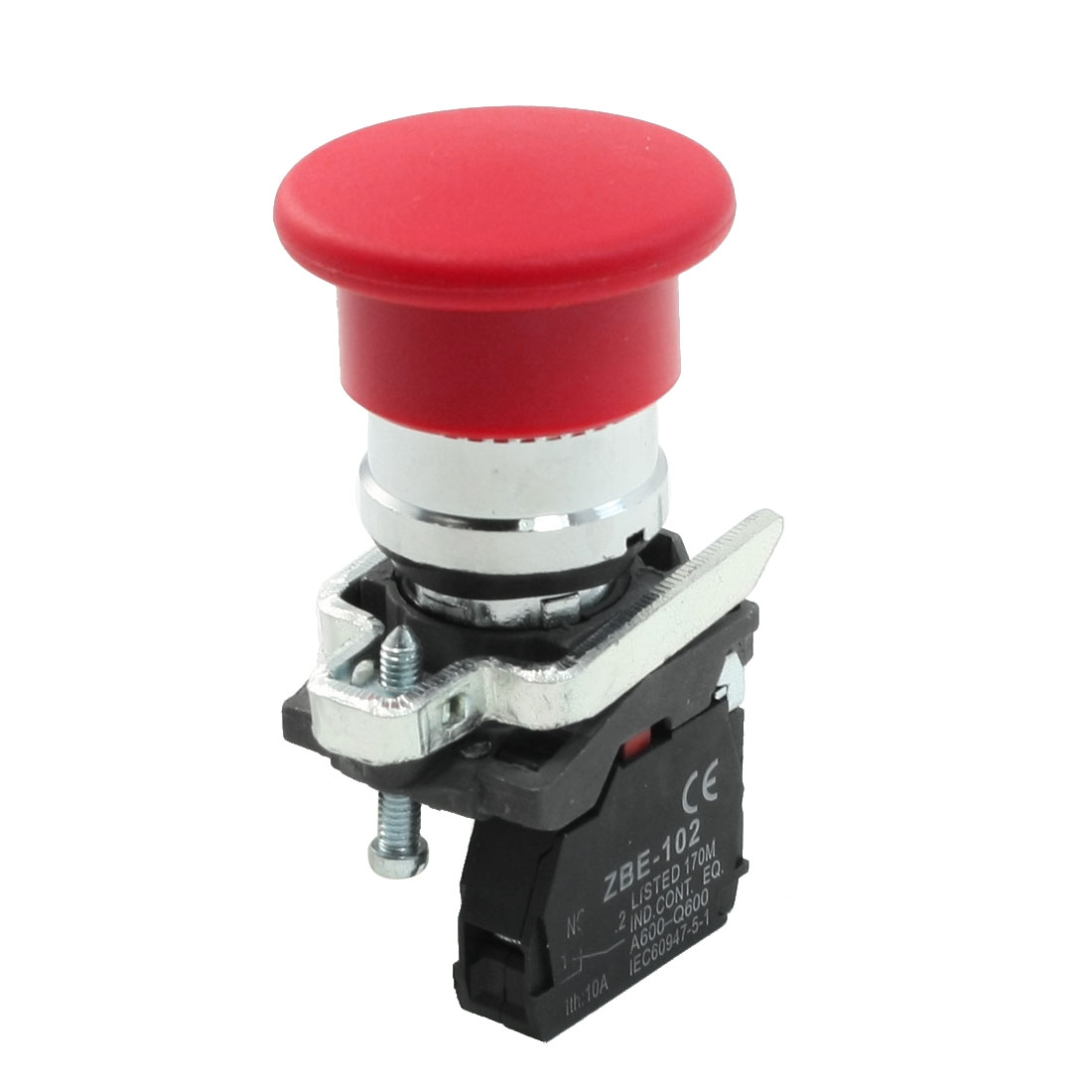 AC 250V 6A Panel Mounted Non Lock Red Mushroom Head Reset Rotary Switch