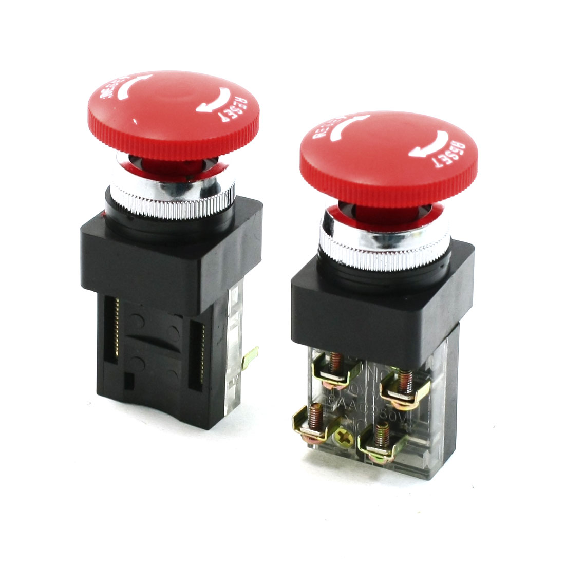 AC 250V 6A 1NO 1NC DPST Momentary Red Mushroom Head Push Button Switch