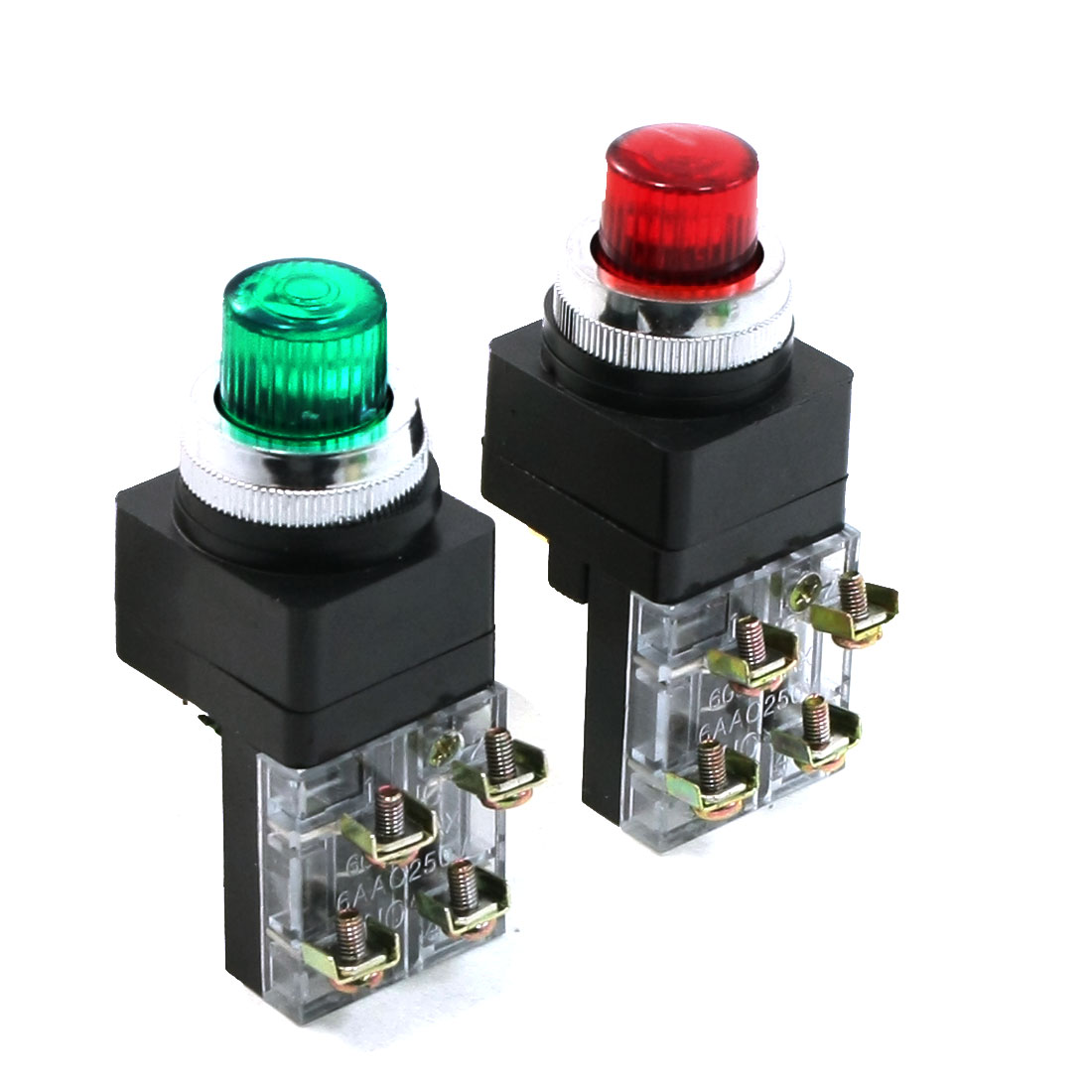 250V Light Lamp Red Green Sign Momentary Push Button Switch 1 NO N/O 1 NC N/C