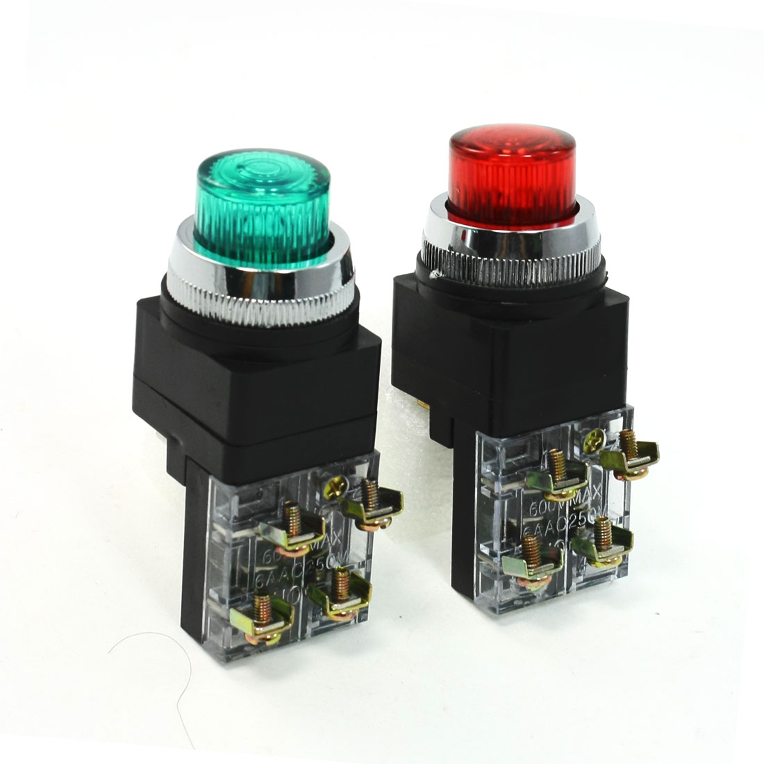 2 Pcs AC 250V Green Red Light Lamp Momentary Push Button Switch DPST