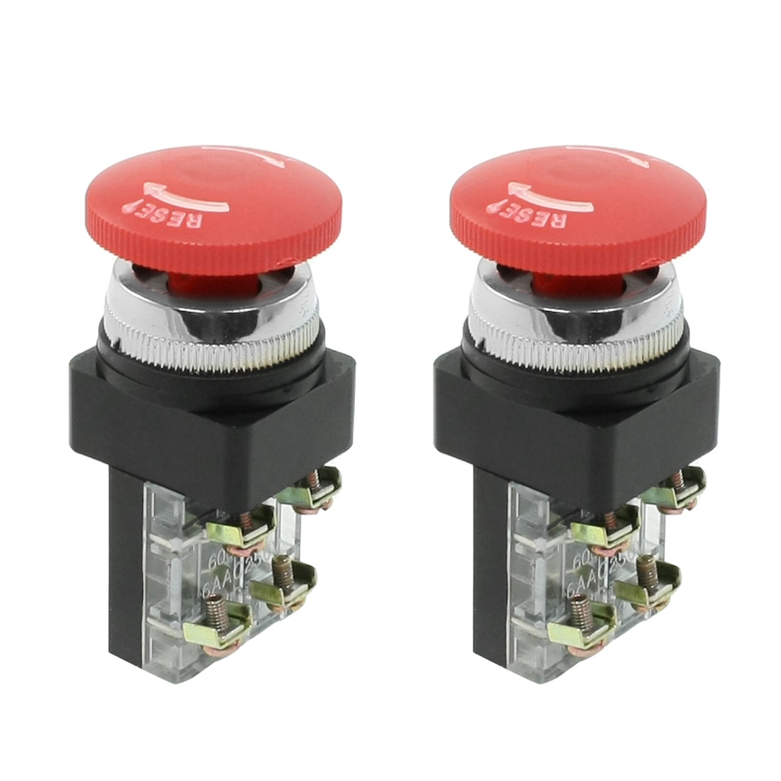 40mm Red Sign Mushroom Emergency Stop Push Button Switch SPDT 6A 250V AC