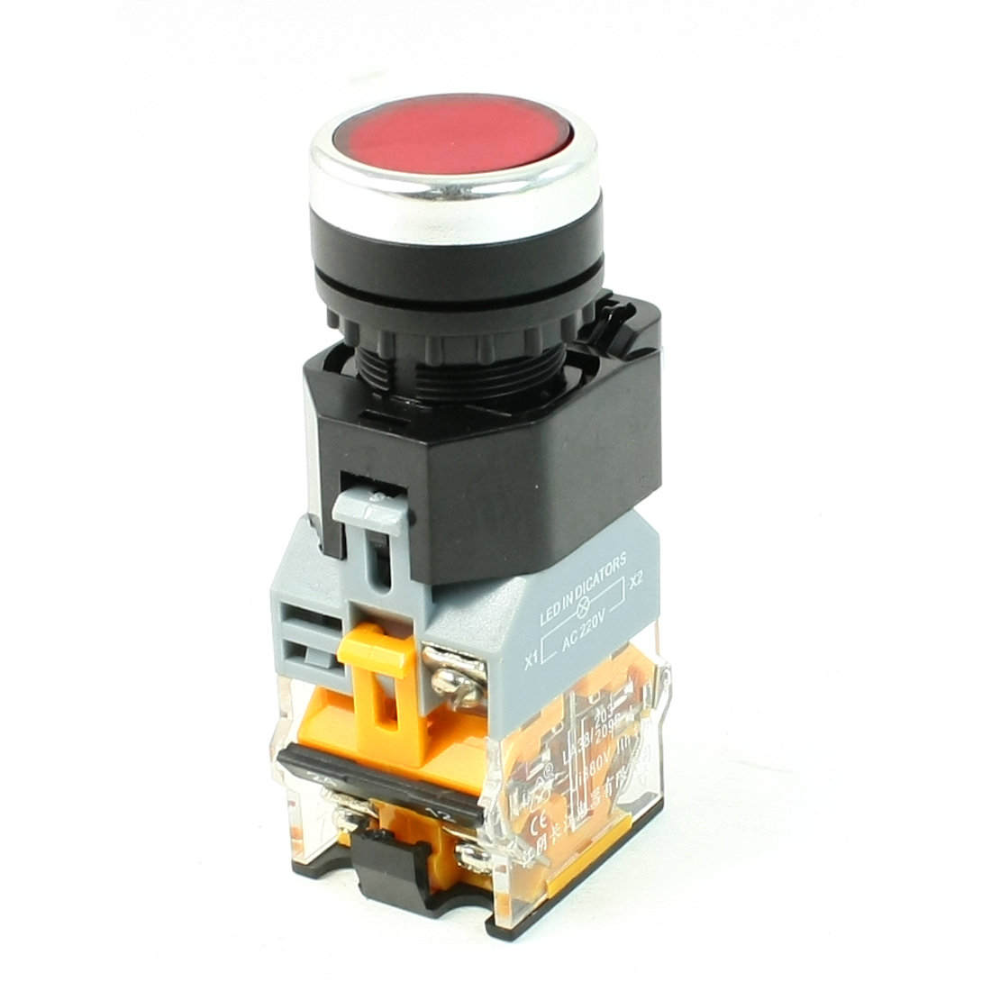 AC 220V Red LED Light Latching Electromagnetic Starter Push Button Switch