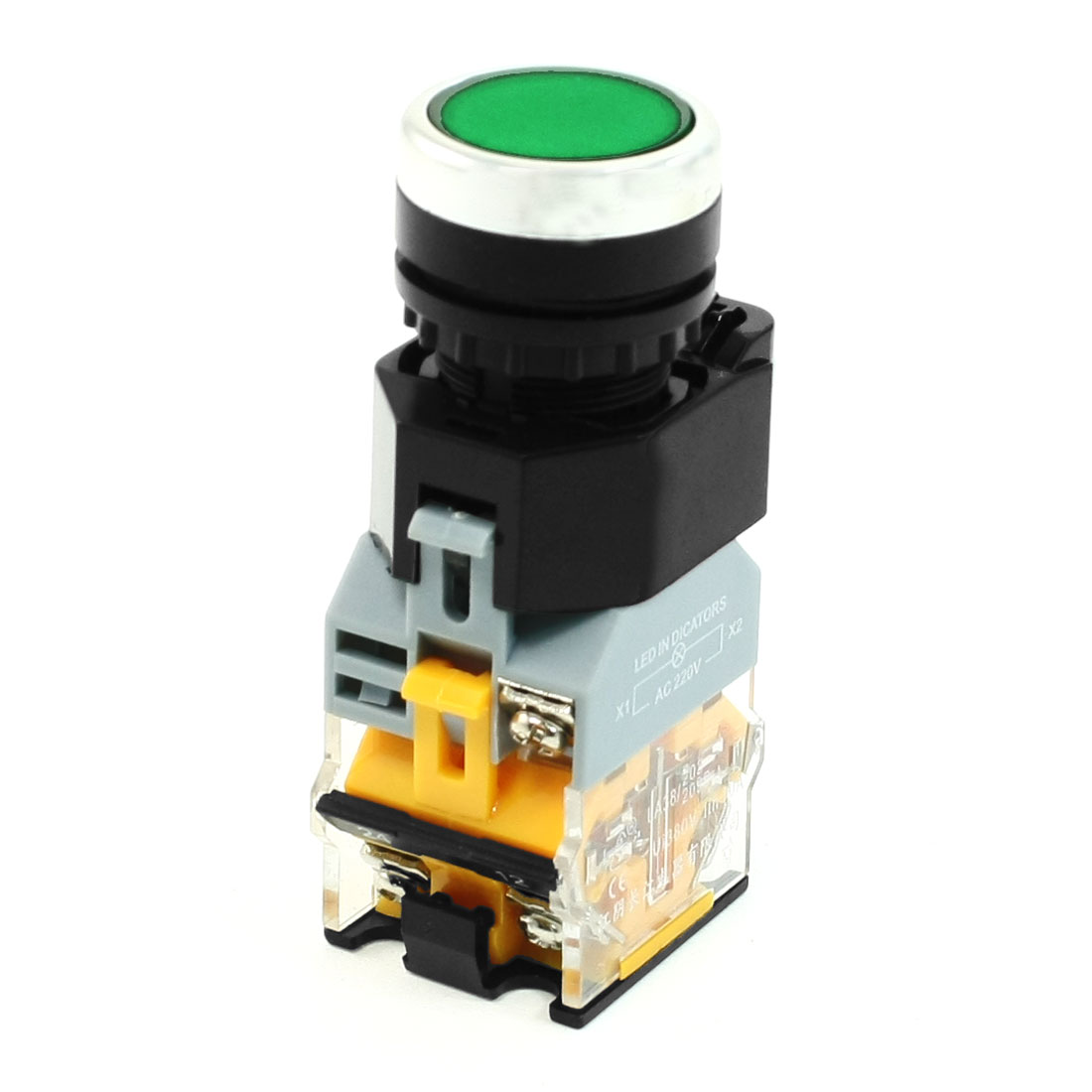 Green Light DPST Push Button Switch 22mm Dia Thread 380V 10A