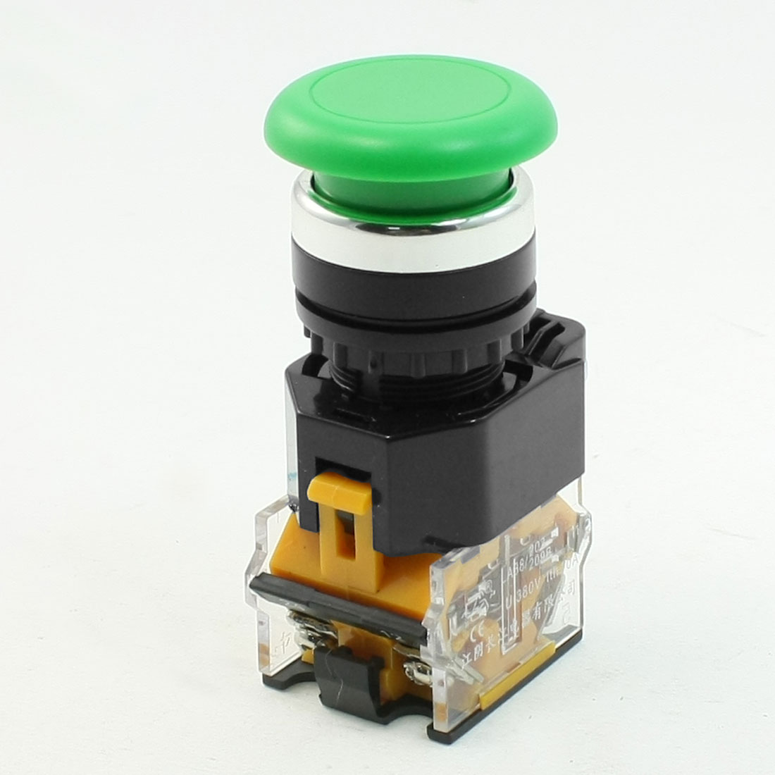 Green Sign Mushroom Emergency Stop Push Button Switch 22mm Dia Thread