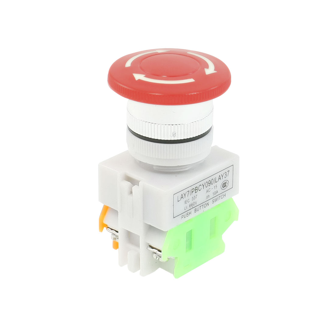 AC 660V 10A 40mm Dia Red Sign Emergency Stop Switch Push Button DPST