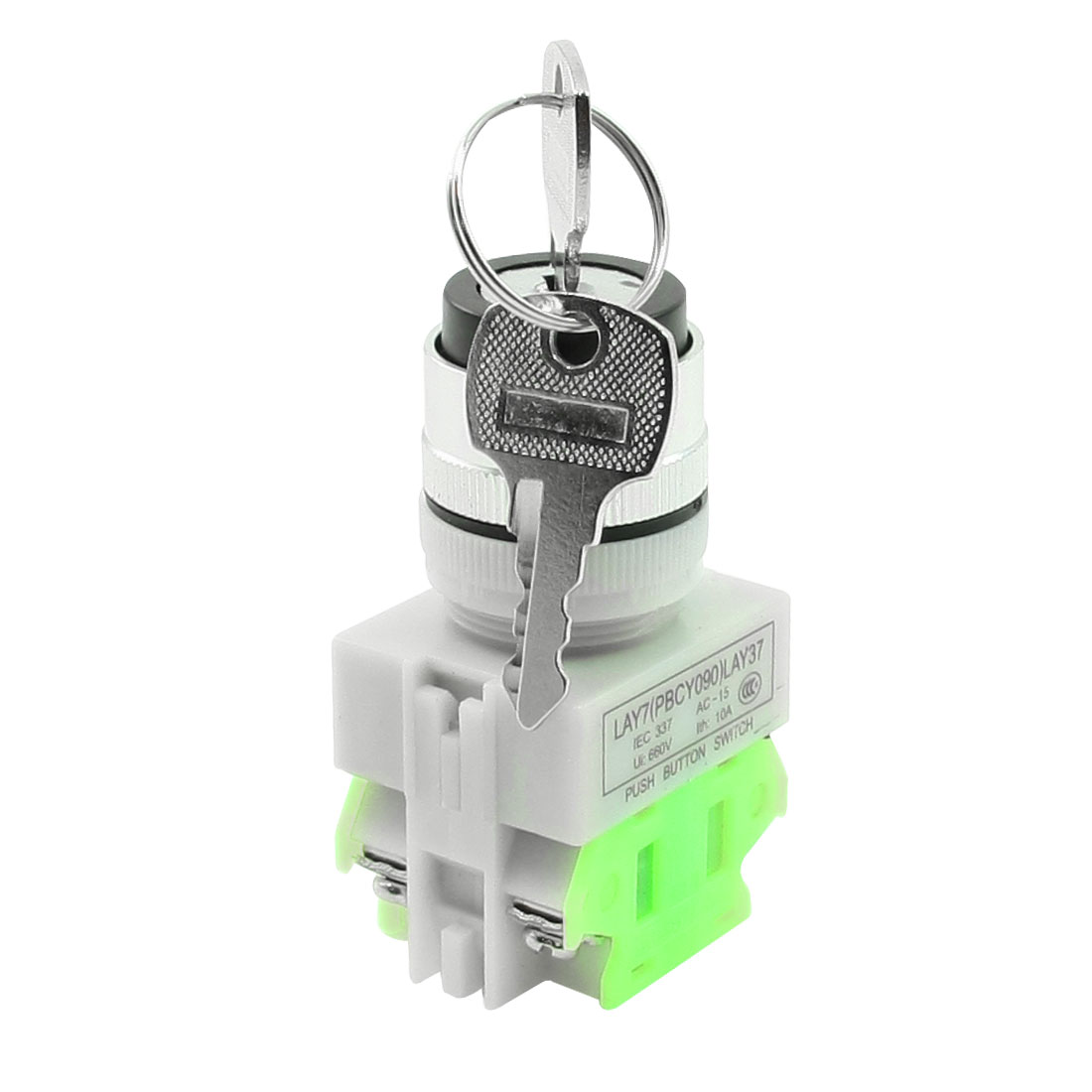 AC 660V 10A DPST 3 Position Rotary Selector Key Lock Switch 1 N/O 1 N/C