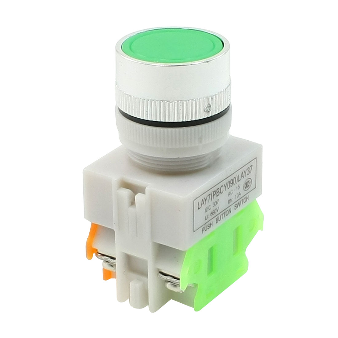 AC 660V 10A Green Sign Momentary Pushbutton Switch 22mm Dia DPST