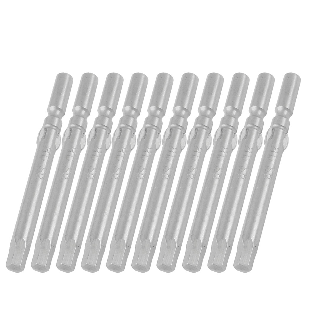 10 Pcs 5mm Round Shank Magnetic 4mm Tip Head Hex Screwdriver Bits Tool
