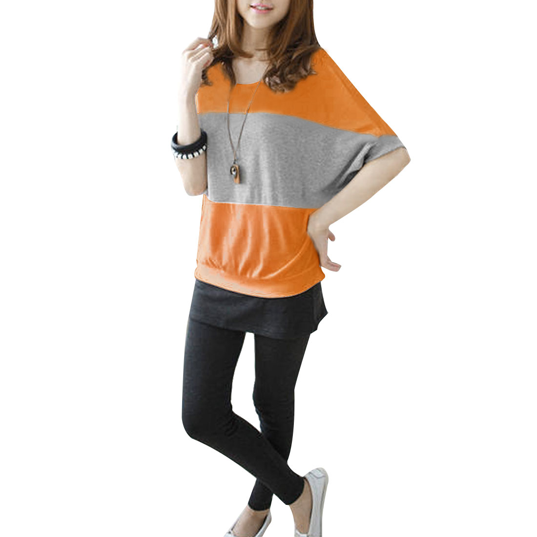 Round Neck Summer Leisure Orange Gray Spliced Top T-shirt M for Woman
