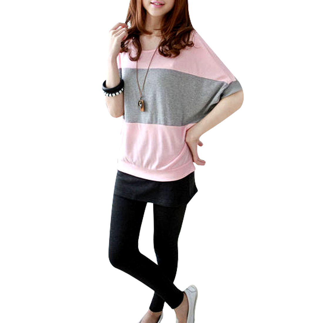 Round Neck Summer Leisure Pink Gray Spliced Top T-Shirt M for Woman