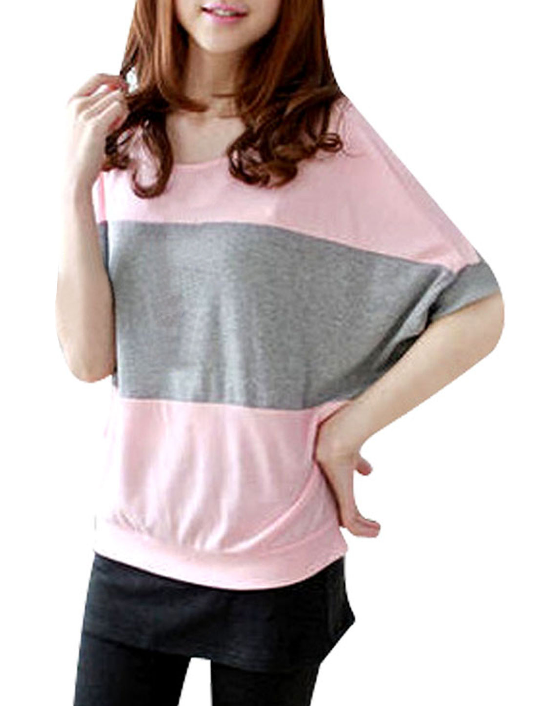 Round Neck Summer Leisure Pink Gray Spliced Top T-Shirt L for Woman