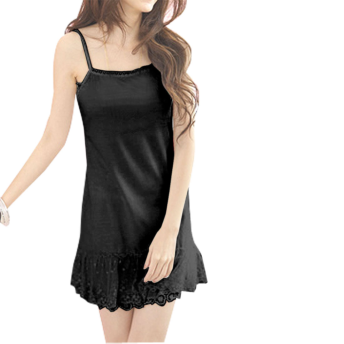 Ladies Square Collar Flowers Lace Hem Basic Slip Dress Black XS