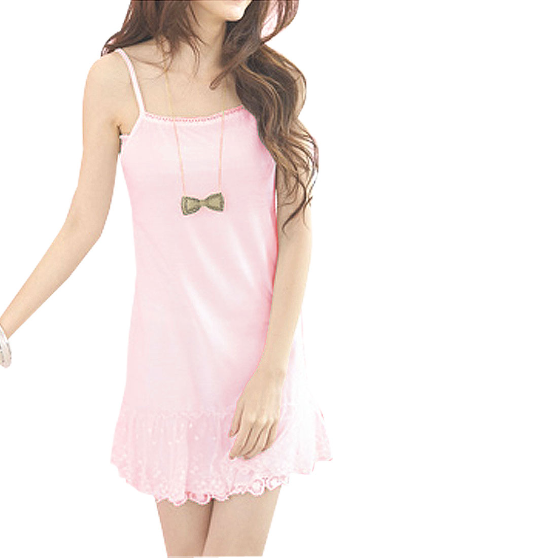 Ladies Square Collar Flowers Lace Hem Basic Slip Dress Pink XS