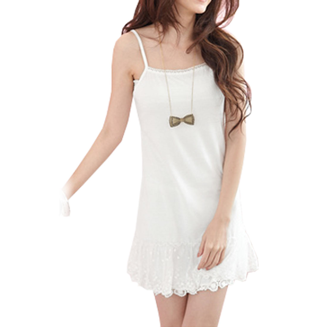 Women Sleeveless Solid White Basic Spaghetti Dress XS