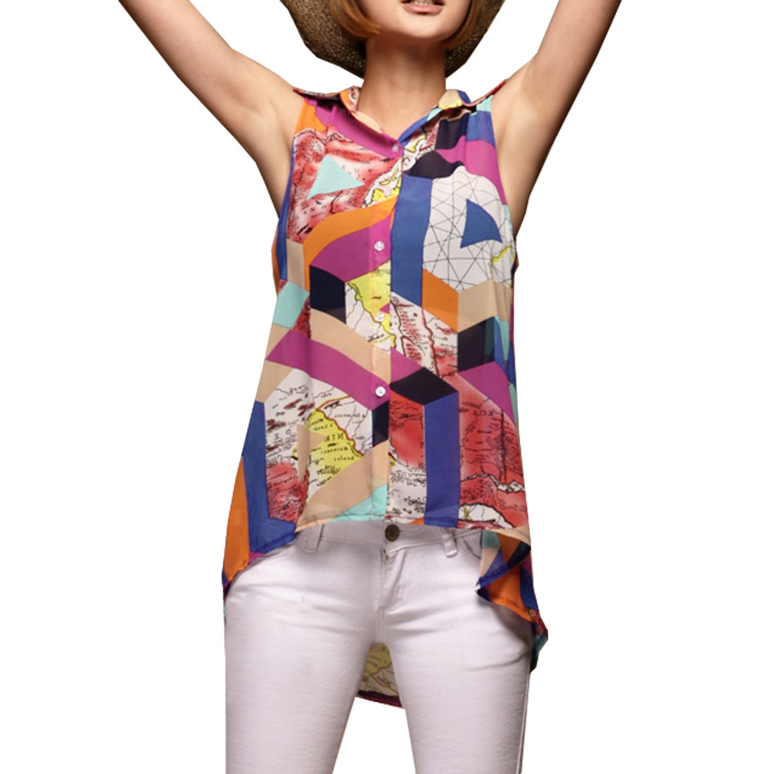 Woman Assorted Color Map Print Chiffon Single Breasted Tunic Top Vest XS