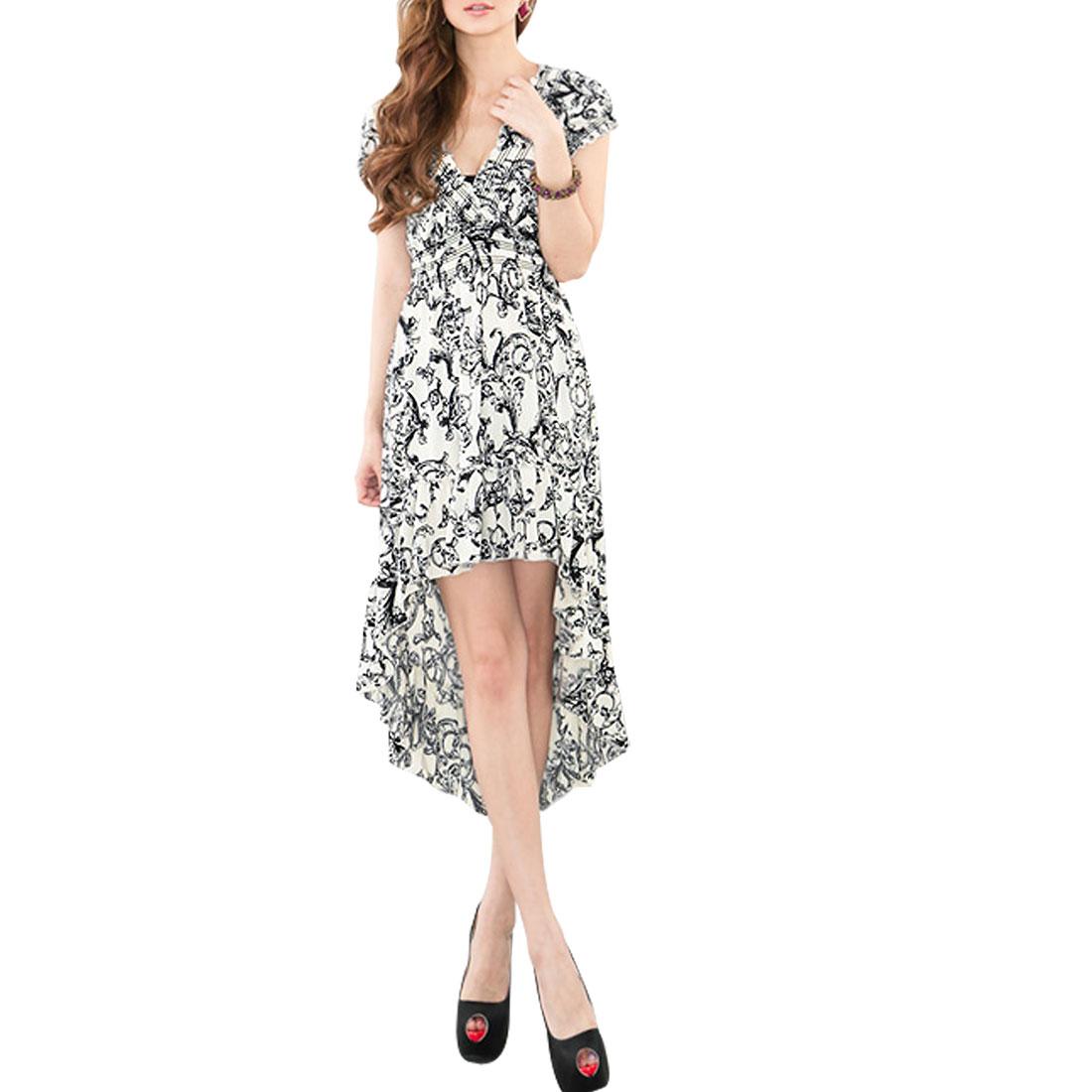 Cap Sleeveless Black Swirl Flowers Pattern White Empire Dress XS for Ladies