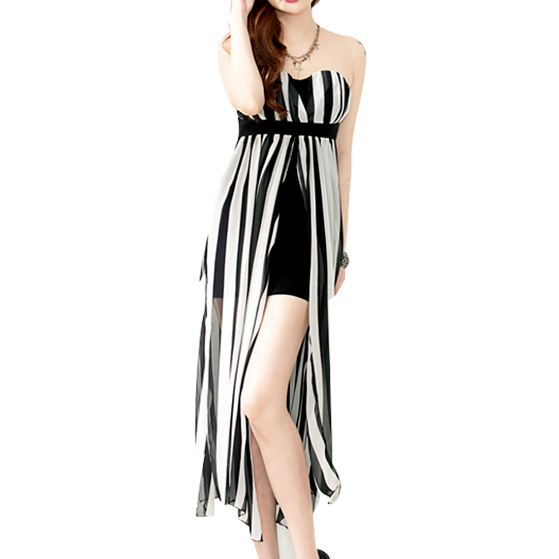 Strapless Ruffled Padded Bust Sheer Chiffon Dress Black White XS for Ladies
