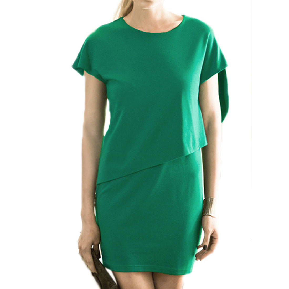 Fashional Spring Summer Pure Green Mini Dress XS for Woman