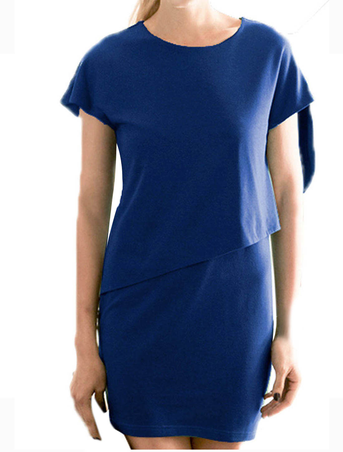 Back One Button Steath Waist Mini Dress Dark Blue XS for Ladies